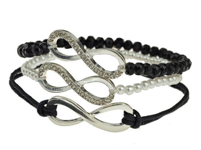 CLAIRES_AW14_Silver Infinity 3-Pack Bracelets